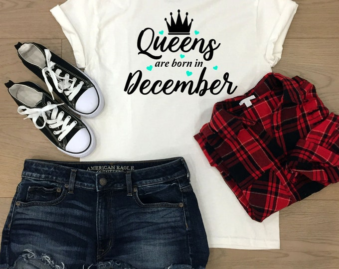December birthday gift, Birthday Queen tshirt, Birthday gift, christmas gifts for teenagers, Adult stocking stuffers, Secret santa gift