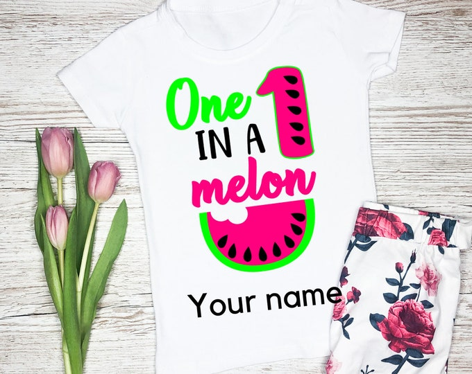 One in a melon shirt, Personalised shirt girls, Birthday gift for girl, 1st birthday gift, First birthday outfit, Baby girl birthday gift