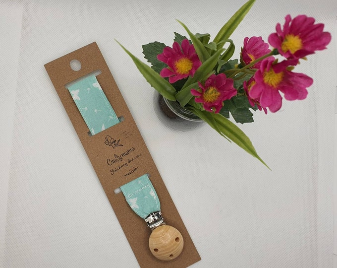 Personalised Baby Cotton Pacifier Chain, Beech Wood Pacifier Clip, Infant Dummy Clip, Fabric Dummy Clip, Cotton Dummy Clip, Baby Shower Gift