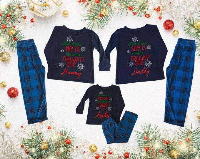 Family christmas pyjamas, Couple matching pyjamas, Tartan pj bottoms, navy pj set, personalised gift, children Christmas gift, xmas eve box