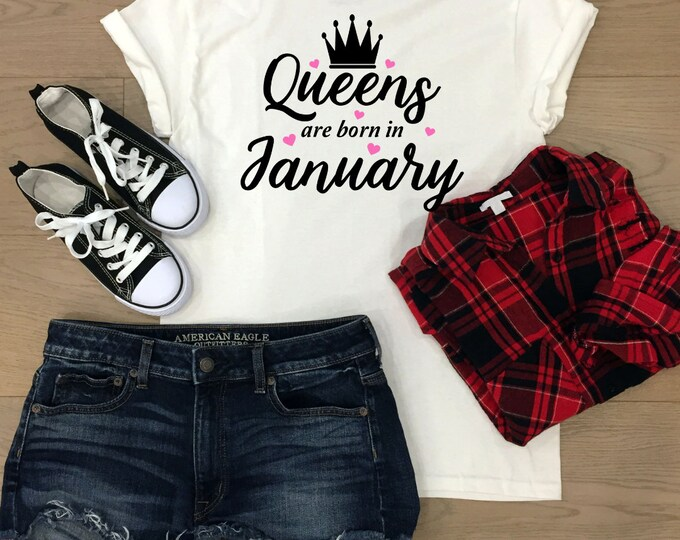 Queens Are Born In January Shirt, Birthday gifts for her, christmas gifts for teenagers, Adult stocking stuffers, Secret santa gift
