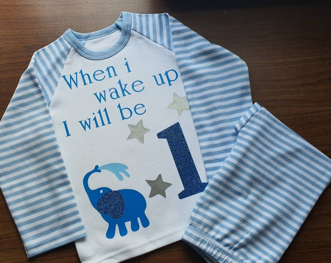 When I wake up I will be 1 pjs, Second birthday gift, birthday eve pyjamas, 1st birthday gift, Personalised gift for kids, Stocking stuffers