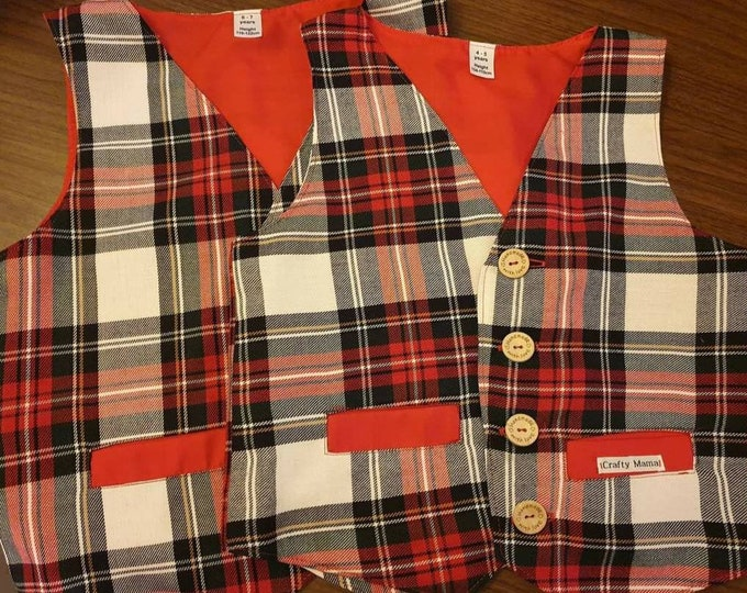 Tartan waistcoat, Waistcoats boys, 2021 christmas gift, Vests for kids, Christmas vest, Handmade waistcoat, Boys christmas gift, Yule gifts