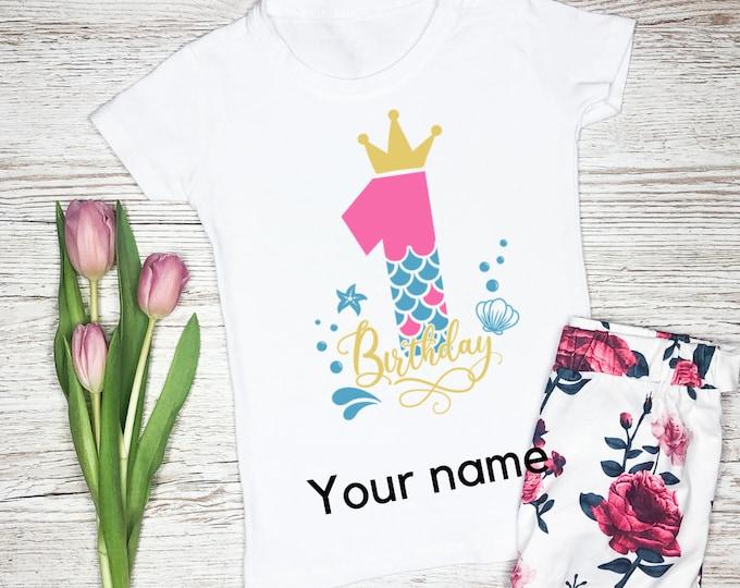 Girls Personalised T-Shirt, Custom Kids T-Shirt, Birthday girls tshirt, Mermaid gifts for girls, Mermaid kids shirt, Custom gift for kid