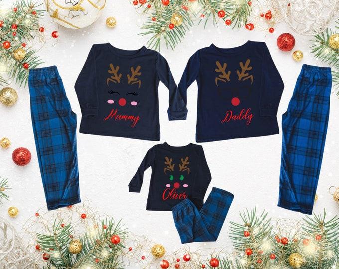 Reindeer pajamas, Family Christmas pyjamas, Tartan pj bottoms, Childrens personalised pyjamas, Christmas eve gift, Personalised gift