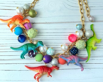 Lenora Dame OVERSTOCK Dino Necklace - Dinosaur Necklace - Statement Necklace - Quirky Jewelry