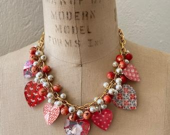 Lenora Dame Iconic Peach Bead Cap Bib Necklace
