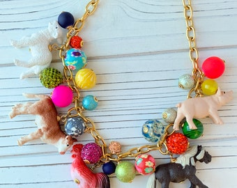Lenora Dame - Farm Life Charm Necklace - Farm Animals - Barnyard Animals - Animal Charms - 4H Gifts - Gifts for Farmers