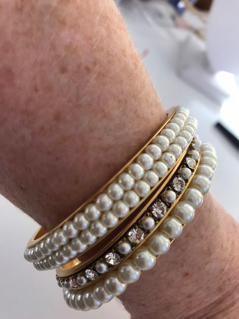 Lenora Dame Pearl and Rhinestone Bangle Bracelet Set
