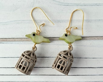 LAST FEW! Lenora Dame La Cage Earrings in Mint