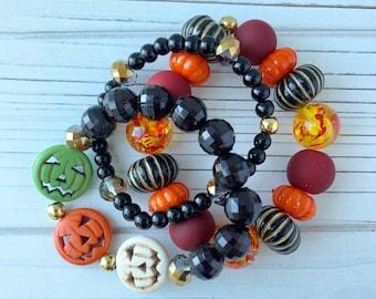 Lenora Dame - Graveyard Stretch Bracelet 3-Piece Set - Pumpkin Bracelet - Halloween Bracelet - Fall Jewelry - Halloween Jewelry
