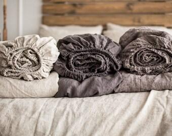 LINEN SHEETS SET linen fitted sheet flat sheet Single Full Double Queen California King size 100% Organic Flax linen flat natural fabric