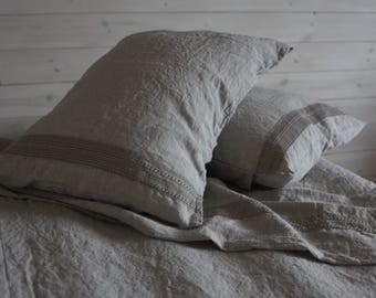 LINEN DUVET COVER set with two pillowcases 100% natural flax washed linen bedding with lace California King Queen Full