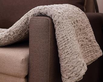 Linen blanket natural linen throw linen bed cover grey linen blanket