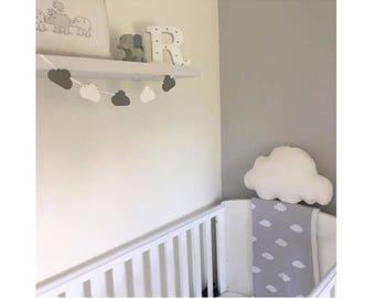Wooden cloud bunting nursery decor