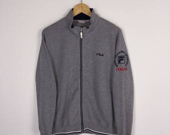 FILA spellout logo zipper sweatshirt / mode nella vita sportiva Italia // sweater // bjorn borg // fila sport asap rocky / medium size qp5Si5TNs
