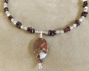 Red Apple Jasper Pendant with Garnet and Moonstone