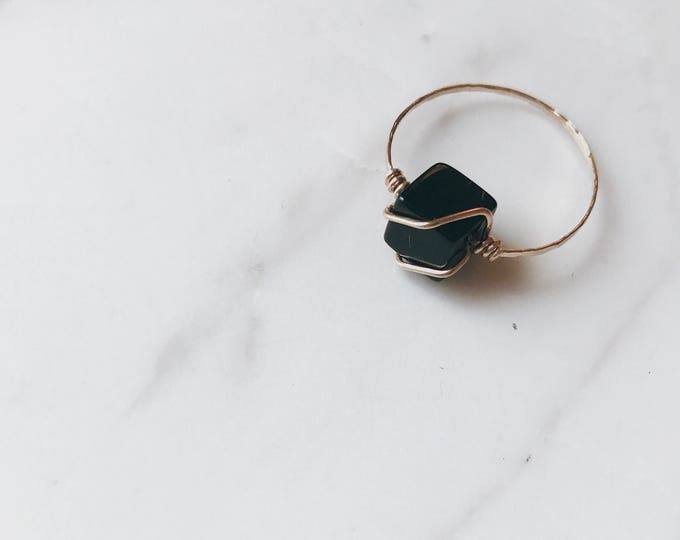 Featured listing image: Minimal Black Agate Cube Gold Ring