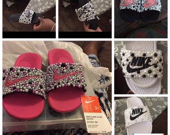 separation shoes 64c0c 70850 Custom Bling   Pearl Nike Slides