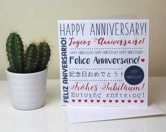 Anniversary Card // multi-language card // unique card // navy & red