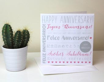 Anniversary Card // multi-language card // unique card // pink & grey