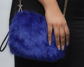 Royal Blue Faux Fur Bag