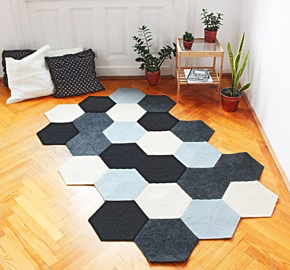 Bee Puzzle Area Rug By Recycled Industrial Felt
