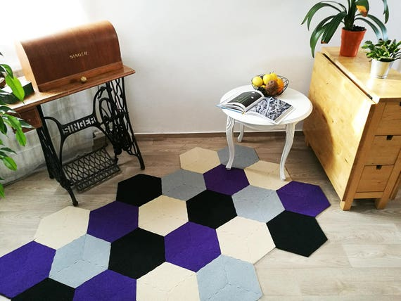 Violet Abeille Geometrique Tapis Tapis Hexagonal Recycle Etsy