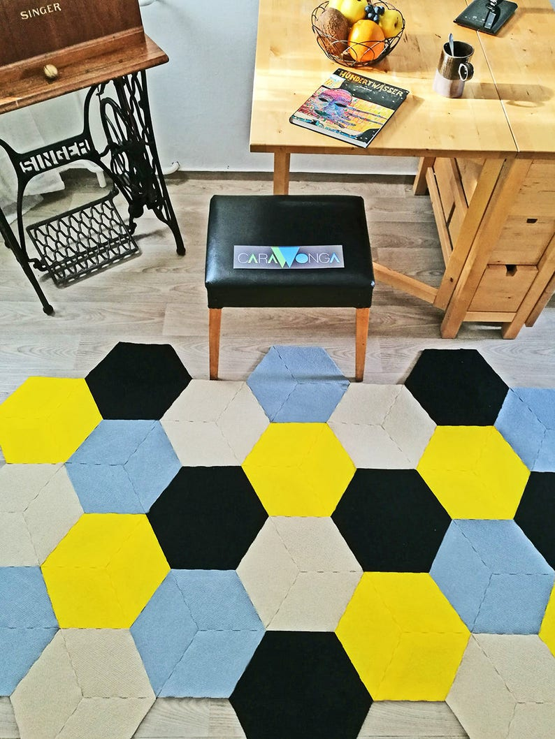 Honey Bee Geometrique Tapis Tapis Hexagonal Recycle Etsy