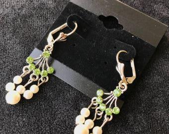 Green Swarovski Crystal & Pearl Earrings