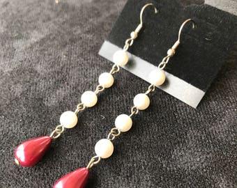 Quadruple Pearls with Maroon Teardrop Earrings