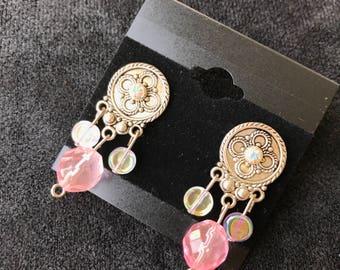 Pink Swarovski Crystal Drop Earrings