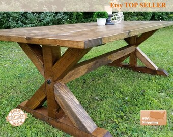 Farmhouse Table Breadboard, Breadboard Table, Farm Table, Dining Room Table, Dining Table, Trestle Table, Farm Table, Rustic