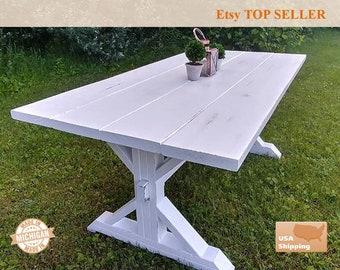 White Distressed Farm House Table, Trestle Table, Distressed Table,  Distressed, Whitewash, Dining Table, Dine Table, White Table