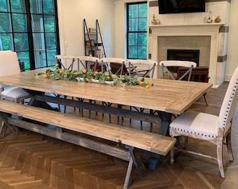 Breadboard X Table, Farm House Table, Farm Table, Bench, Trestle Legs, Rustic Table, Dine Table, Dining Table, Customize, Harvest Table