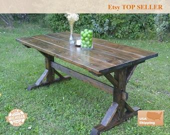 Farmhouse Table, Farm House Trestle Table, Dark Farm House Table, Kitchen Table, Dining Table, Rustic Table, Farm, Farm Table
