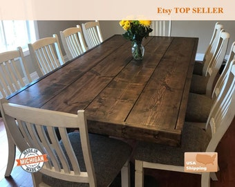 Farm Table Farmhouse Trestle Dine Room Rustic Furniture Vintage