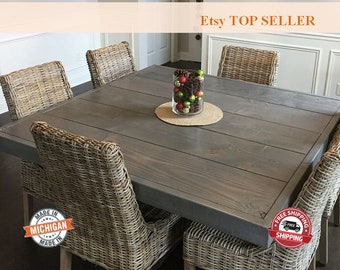 Farm House Table, Dining Table, Square Farm Table, Square Dining Table, Vintage, Farmhouse Table, Pedestal Table, Dine Table