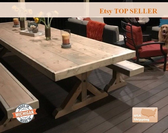 Wondrous Farmhouse Table And Benches Farm House Table And Bench Farm Table Farm Bench Rustic Farm Table And Bench Machost Co Dining Chair Design Ideas Machostcouk