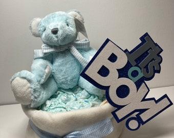New baby boy one tier nappy cake / diaper cake / Baby Shower / New baby Gift