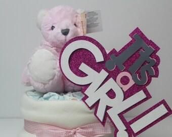 New baby girl nappy / diaper cake