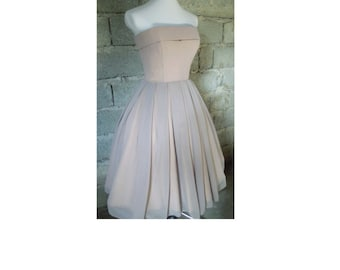 50s Style Cocktail Dress, Wedding,Bridesmaids,Prom, Corset,Dress, Silver Chiffon,Strapless,Tea length, Bespoke ,Custom Welcome , Handmade