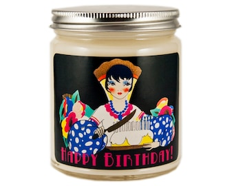 Birthday Gift,  Scented Candle, Happy Birthday Candle, Container Candle, Soy Candle, Vintage Birthday Candle, Happy Birthday, Candle Gift