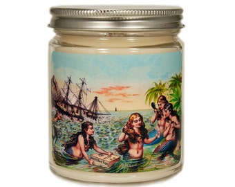 Beach Soy Candle, Custom Scented Candle, Vintage Beach Candle, Container Candle, Soy Candle, Mermaid Gift, Mermaid Decor, Beach Decor