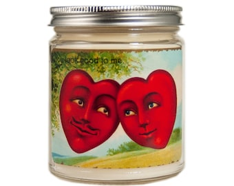 Valentine Candle, Custom Scented Candle, Container Candle, Soy Candle, Valentines Day Gift, Vintage Valentine Day, Anthropomorphic