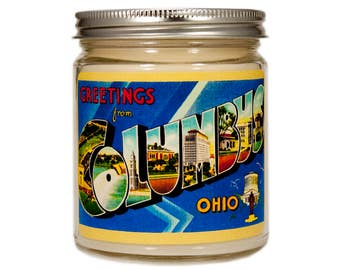 Columbus Ohio Gift, Columbus Ohio Candle, Homesick Candle, Scented Candle, Container Candle, Soy Candle, Candle Gift, Vintage Ohio