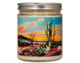 Southwestern Candle, Cactus Flower, Desert Cactus Candle, Southwestern Decor, Scented Candle, Container Candle, Soy Candle, Candle Gift,