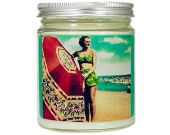 Beach Soy Candle, Custom Scented Candle, Vintage Beach Candle, Container Candle, Soy Candle, Beach Gift, Beach Decor, Beach House Decor
