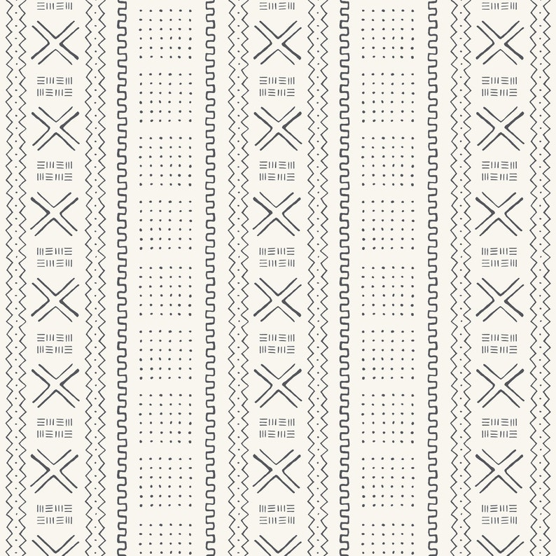 AFRICAN MUDCLOTH IVORY Peel and Stick Removable Wallpaper Abstract Black /& White Boho Wall Decor 8x10 Quick-Ship Samples  Modern