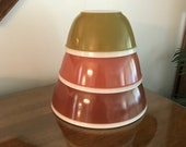 Vintage Americana Fall Colored Pyrex Nesting Bowl with White Rim Set 402 403 404